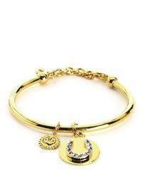 Juicy Couture | Metallic Pave Horseshoe And Coin Bangle | Lyst