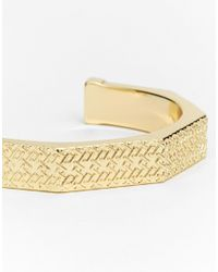 ASOS | Metallic Gold Plated Embossed Arm Cuff | Lyst