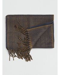 TOPMAN - Gray Navy and Mustard Woven Scarf for Men - Lyst