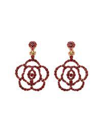 Oscar de la Renta - Red Pave Flower Clip Earring - Lyst