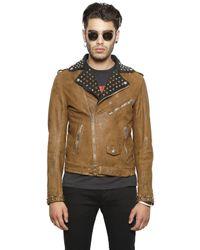 DIESEL - Brown Studded Vintage Leather Moto Jacket for Men - Lyst