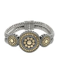 John Hardy - Metallic Dot Gold & Silver Nuansa Round Three Station Bracelet - Lyst