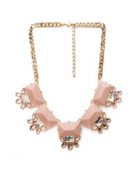 Forever 21 - Pink Faux Gem Statement Necklace - Lyst