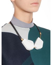 Marni - White Medium Length Necklace In Colored Wood - Lyst