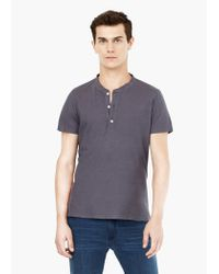 Mango - Gray Henley T-shirt for Men - Lyst