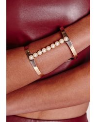 Missguided | Metallic Pearl Bracelet Gold | Lyst