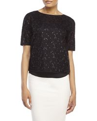 Les Copains - Black Embellished Mesh Lined Top - Lyst