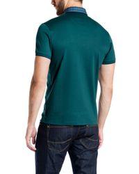 Ted Baker - Blue Komma Checked Collar Polo Shirt for Men - Lyst