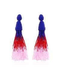Oscar de la Renta | Blue Resin Rose & Crystal Triple-drop Earrings | Lyst