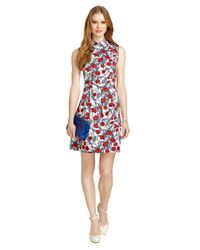 Brooks Brothers - Red Sleeveless Poppy Print Dress - Lyst