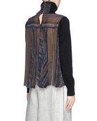 Sacai - Black Plissé Pleat Chiffon Back Turtleneck Sweater - Lyst