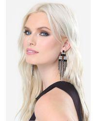 Bebe - Black Deco Fringe Earrings - Lyst