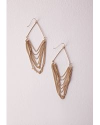 Missguided - Metallic Layered Chain Earrings - Lyst