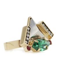 Iosselliani - Green Navette Embellished Triangle Ring - Lyst