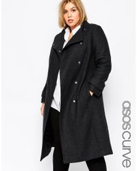 ASOS | Black Funnel Neck Coat | Lyst