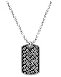 Macy's | Gray Men's Woven Dog Tag Pendant Necklace In Stainless Steel | Lyst
