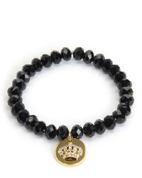Juicy Couture | Black Crown Coin Beaded Bracelet | Lyst