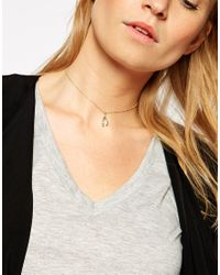 ASOS | Metallic Wishbone Choker Necklace | Lyst