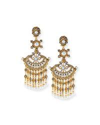 Jose & Maria Barrera | Metallic 24k Gold Pearlescent Chandelier Clip Earrings | Lyst
