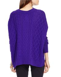 Polo Ralph Lauren | Purple Cabled Wool-blend Sweater | Lyst