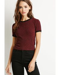 Forever 21 | Purple Ribbed Knit Ringer Tee | Lyst