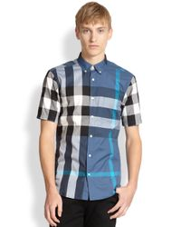 Burberry Brit Blue Fred Checked Sportshirt for men
