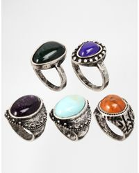 ASOS | Multicolor Stone Ring Multi Pack | Lyst