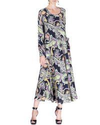 Etro - Black Long-sleeve Paisley-print Silk Swing Dress - Lyst