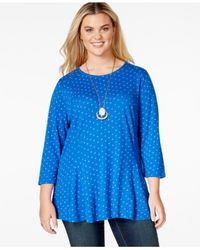 Lucky Brand | Blue Lucky Brand Plus Size Floral-print Swing Top | Lyst