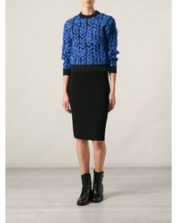 Balenciaga - Blue Leaf Print Sweater - Lyst