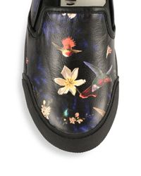 Alice + Olivia - Black Piper Floral-print Leather Slip-on Sneakers - Lyst
