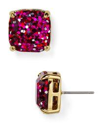 kate spade new york - Metallic Small Square Glitter Stud Earrings - Lyst