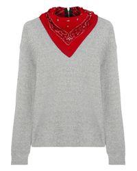 R13 - Gray Bandana-Embellished Cotton-Terry Sweatshirt - Lyst
