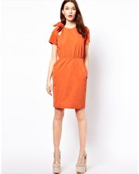 Mademoiselle Tara - Orange Taffeta Dress with Bow - Lyst