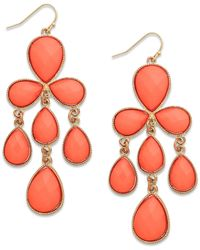INC International Concepts | Pink Gold-tone Coral Bead Chandelier Earrings | Lyst