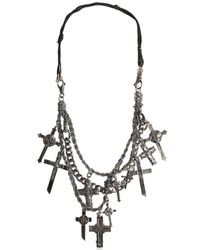Emanuele Bicocchi | Metallic Silver Crosses & Leather Necklace | Lyst