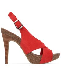 BCBGeneration - Red Greer Criss Cross Footbed Platform Dress Sandals - Lyst