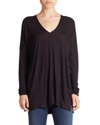 VINCE | Black Long-sleeve V-neck Top | Lyst