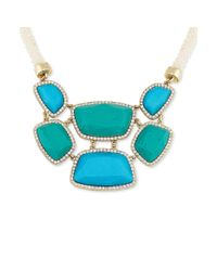 Carolee - Goldtone Blue and Green Stone Pavé Bib Necklace - Lyst