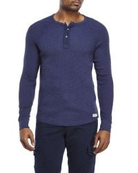 Lucky Brand | Blue Thermal Henley for Men | Lyst