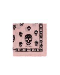 Alexander McQueen - Pink Classic Skull Modal-silk Scarf for Men - Lyst