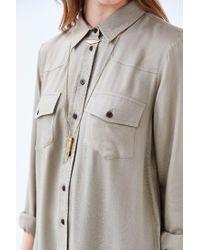 BDG - Green Drapey Buttondown Shirtdress - Lyst
