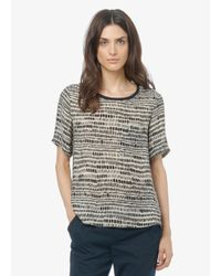 Vince - Black Tribal Dot Silk Pocket Tee - Lyst