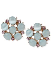 Betsey Johnson - Blue Rose Gold-Tone Bead And Crystal Accent Stud Earrings - Lyst
