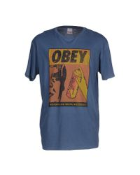 Obey - Blue T-shirt for Men - Lyst