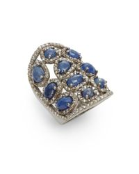 Bavna | Blue Diamond, Sapphire & Sterling Silver Ring | Lyst