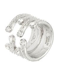 Oscar de la Renta | Metallic Swarovski Crystal Multi-row Ring | Lyst