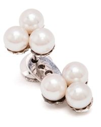 Yvonne Léon | 18Kt White Gold And Pearl 'Trilogie' Lobe Earring | Lyst