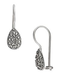 Lord & Taylor | Metallic Sterling Silver And Marcasite Teardrop Earrings | Lyst