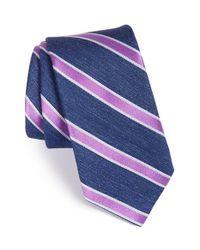 Ted Baker - Blue 'tussah Stripe' Silk Tie for Men - Lyst